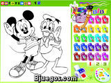 Colorear a Mickey Mouse y a Donald